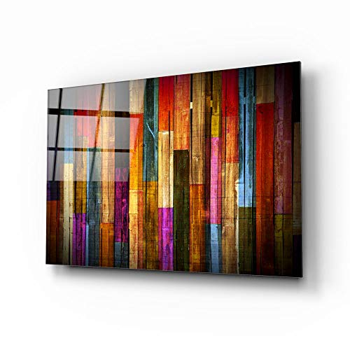 TEBAMALL Painted Wood Glass Printing Wall Art on Frameless Free Floating Tempered Glass Panel Ready...