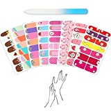 7 Different Children Nail Wraps Nails Polish Stickers Full Nail Strips Lovely Cartoon Design DIY Nail Art Decal Adhesive with a Nail File (98 PCS, Ice-Cream Pink Set)