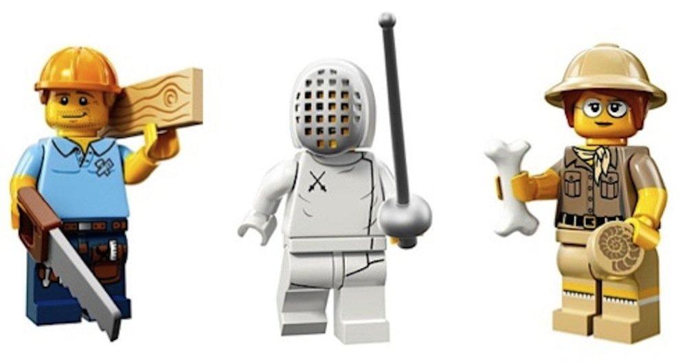 Carpenter, Olympic Fencer, Paleontologist: Lego Collectible Minifigures Series 13 Custom Bundle 71008