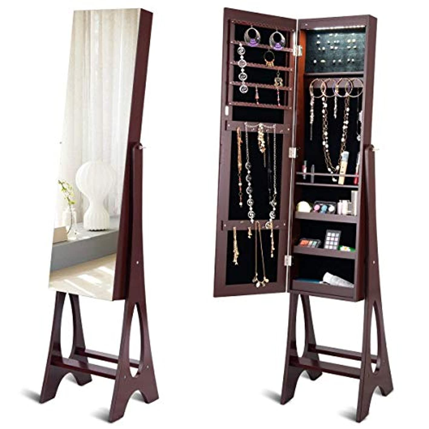 Giantex 12 LED Jewelry Armoire Cabinet with Mirror, Auto-On Lights Frameless 12.5