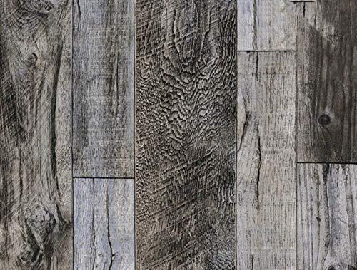 Papel pintado impermeable 3D Vintage de madera patrón papel pintado para paredes autoadhesivo de contacto de hotel, biblioteca, dormitorio, sala de estar