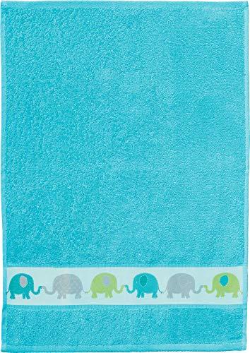 Erwin Müller Walk-Frottier Kinder-Handtuch mit Elefanten-Bordüre türkis Größe 50x70 cm - angenehm weich und flauschig, besonders schnell trocknend und saugstark