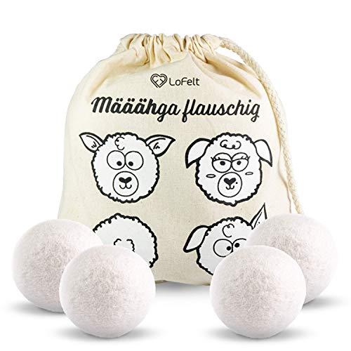 LoFelt® Trocknerbälle für Wäschetrockner - Dryer Balls - Natürlicher Weichspüler - Plastikfreie Produkte - 100% Schafswolle - 4 Stück in weiß