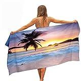 Surwin Toallas de Playa Microfibra,Mar Olas Impresión Grande Toalla de Playa Verano Secado Rápido Arena Antiadherente Absorbente Toalla para Viaje Playa Nadar Piscina (Puesta de Sol,150x180cm)