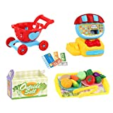 Luccase Kinder Registrierkasse Spielzeug mit Flüssigkristallanzeige 19x29x8cm Analoge Registrierkasse ABS Einkaufen Kassierer Rollenspiel Set für Jungen und Mädchen (Rot)