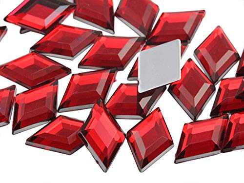 Allstarco 11x18mm Flat Back Diamond Acrylic Rhinestones Plastic Gems for Jewelry Making Costume Jewels Cosplay Embelishments - 35 Pieces (Red Ruby H103)