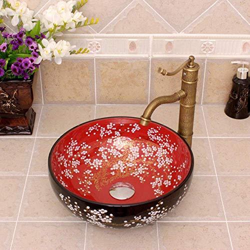 ZHFF Lavandino del Bagno, lavabo Piccolo 35 cm Rotondo lavabo da appoggio lavabo Rosso e Nero lavabo in Ceramica lavandino del Bagno