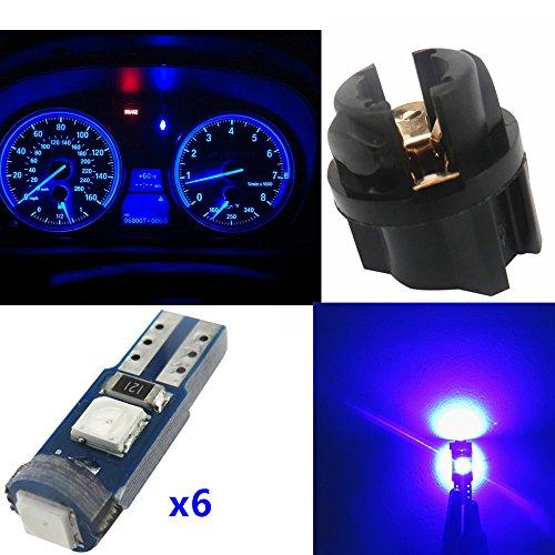 WLJH Lot de 6 Ampoules LED Canbus sans Erreur T5 37 2721 3030 avec Douille torsadée Bleu