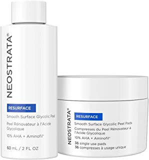 NEOSTRATA RESURFACE Glycolic Acid Peel Toner for Face & Exfoliating Pore Reducer Pads - 10% Glycolic Acid AHA & Aminofil for Hyaluronic Acid & Collagen; 2 ounce Peel Solution & 36 Daily Face Peel Pads