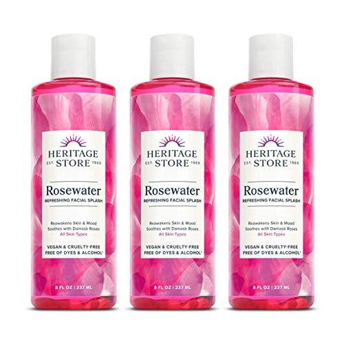 Heritage Store Rosewater | Refreshing Facial Splash for Glowing Skin | No Dyes or Alcohol | Vegan & Cruelty Free (8oz, 3pk)