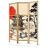 murando - Biombo Japón Oriente Zen 135x171 cm 3 Paneles Lienzo de Tejido no Tejido Tela sintética Separador Madera Design de Moda Hecho a Mano Deco Home Office Japón p-B-0026-z-b