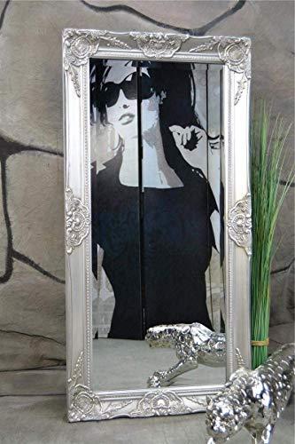 Livitat Wandspiegel Spiegel barock antik Silber Badspiegel 100 x 50 cm Facettenschliff (Silber)