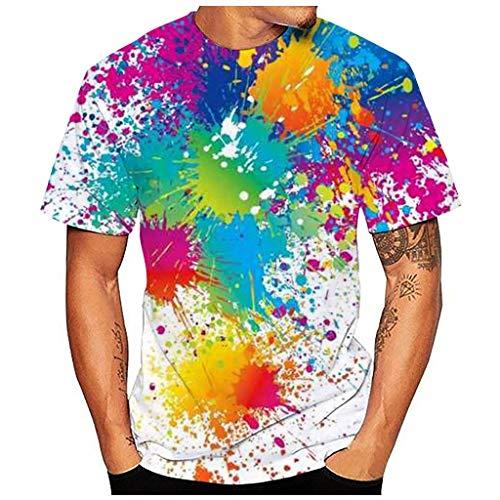 Regenbogen Bunt 3D Print Kurzarmshirt M Mehrfarbig 561844 (Long Herren t Shirt mit Knopfleiste Hawaii Hemd Herren t Shirts ärmellos Poloshirt Weste Herren Hochzeit)