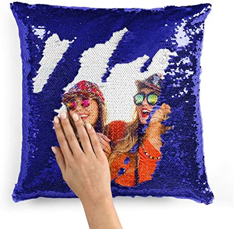 Custom Photo Sequin Pillow Cases Blue Mermaid Sequin Pillow Case w Any Picture Magic Reversible product image
