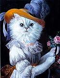 shuodade Pittura da Numeri Kit per Adulti e Bambini Fai da Te Pittura ad Olio Digitale Elegante Gatto Bianco Tela Arte Muro Arte