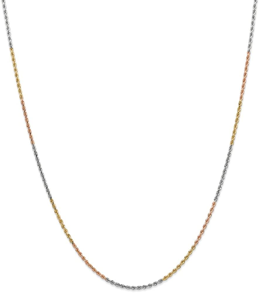 Solid 14k Tri Three Color Gold 1.75mm Diamond-Cut Rope Chain Necklace - with Secure Lobster Lock Clasp