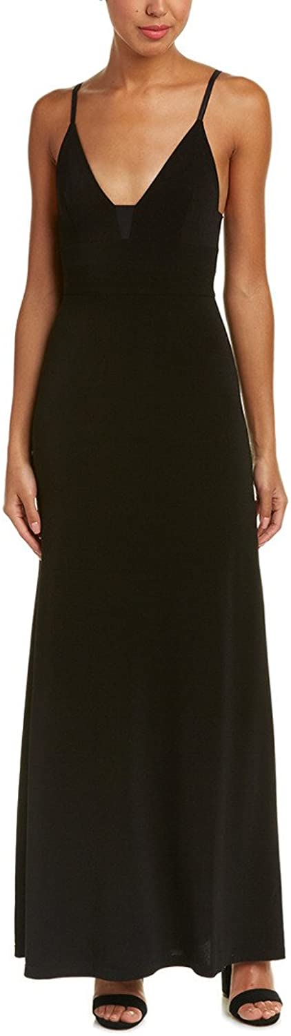 Alice + Olivia Devlin Maxi Dress with Sheer Inset, Black, Size 6