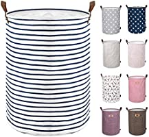 DOKEHOM DKA0822G Freestanding Laundry Basket with Lid, Collapsible Round Drawstring Clothes Hamper Storage with Leather...