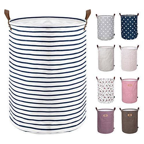 Product Image of the DOKEHOM 17.7-Inches Freestanding Laundry Basket with Lid, Collapsible Large Drawstring Clothes Hamper Storage with Leather Handle (Blue Stripe, M)