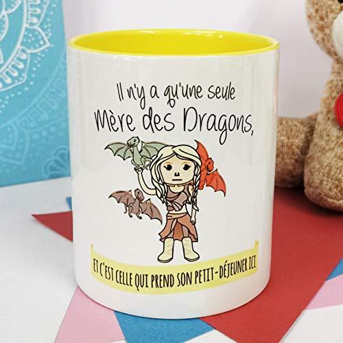 Nos pensées - Taza con Frase y Dibujo Divertido - Regalo Original (Diseño Madre Dragones) (Francés)