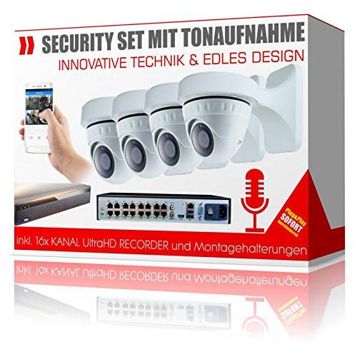 Videoüberwachung mit Tonaufnahme inkl. Wandhalterungen und 4K Recorder - ohne Festplatte