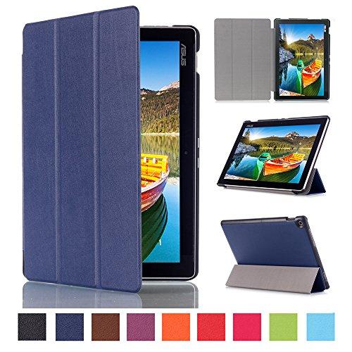 WindTeco ASUS ZenPad 10 Hülle, Ultra Dünn Leder Schutzhülle mit Auto Aufwachen/Schlaf Funktion für ASUS Zenpad 10 Z301MFL / Z2301ML / Z300M / Z300C / Z300CG / Z300CL Tablet, Marineblau