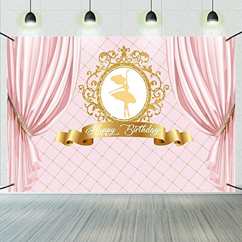 CSFOTO 6x3.6ft Happy Birthday Backdrop Ballet Dancer Princess Curtain Ballerina Birthday Banner Pink Gold Sign Poster for Girl Birthday Party Decorations Banner Birthday Party Supplies