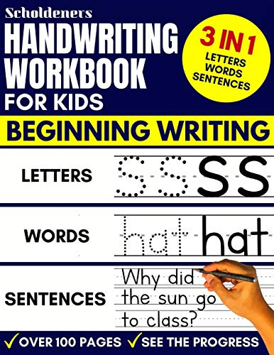 Compare Textbook Prices for Handwriting Workbook for Kids: 3-in-1 Writing Practice Book to Master Letters, Words & Sentences  ISBN 9781093144796 by Scholdeners
