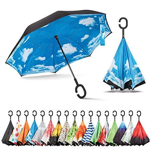 Sharpty Inverted Umbrella, Umbrella Windproof, Reverse Umbrella, Umbrellas for Women with UV Protection, Upside Down Umbrella with C-Shaped Handle (Blue Sky)
