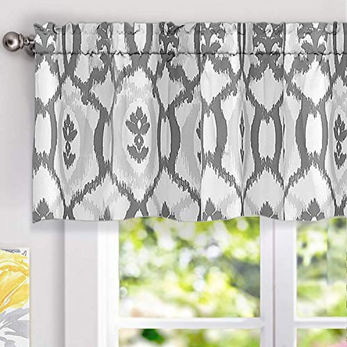 DriftAway Evelyn Ikat Fleur Floral Pattern Window Curtain Valance 52 Inch by 18 Inch Gray