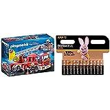 Playmobil - Camion de Pompiers avec Échelle Pivotante - 9463 + Piles alcalines AAA Duracell Plus, 1.5V LR03 MN2400, Paquet de 12