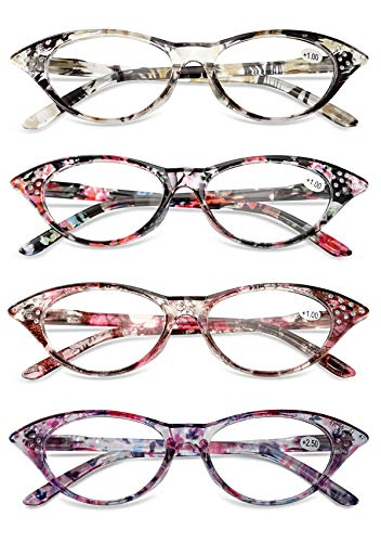 KOOSUFA Katzenaugen Lesebrille Damen Federscharnier Hornbrille Lesehilfe Sehhilfe Retro Designer Mode Vollrandbrille mit Brillentasche 1.0 1.5 2.0 2.5 3.0 3.5 4.0 (4 Farben Set, 3.5)