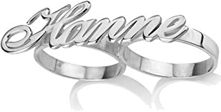 sterling silver two finger name ring