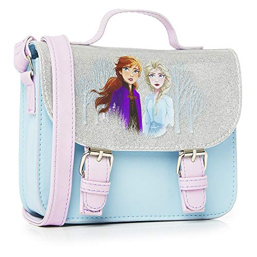 Disney Frozen 2 Handbag for Girls, Glitter Satchel Bag Featuring Anna and Elsa, Frozen Accessories, Children Cross Body Fashion Shoulder Bag, for girls