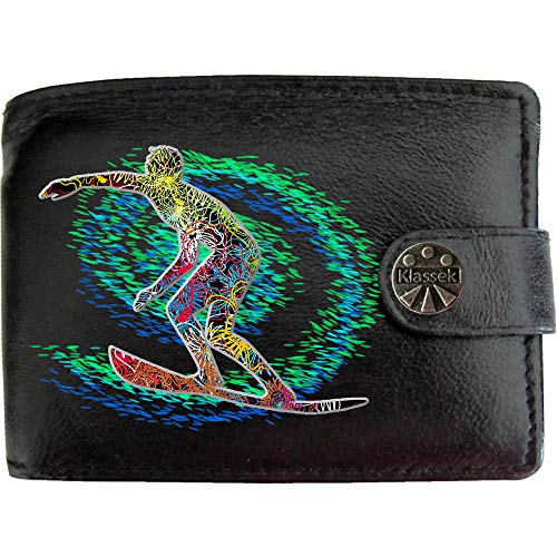 Pacific Surfer Surfing Wave Board Beach Surf KLASSEK Mens Wallet Real Black Leather RFID Blocking with Coin Pocket and Metal Gift Box