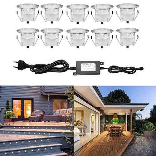 10 Kit Spot LED Eclairage Extérieur Encastrable Sol Terrasse Bois,45mm Spots Encastré Extérieur Fait en IP67 DC12V 1W Avec Alimentation EU Pour Jardin Escalier Patio Blanc Froid