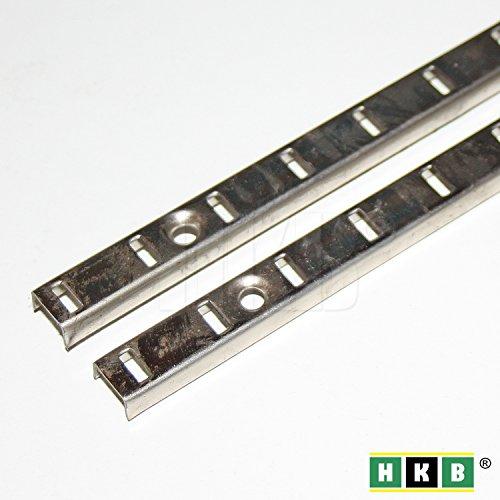HKB ® 2 Stück Bodenträgerschiene Vari, 10mm, 1000 x 10mm, vernickelt, Fachbodenträger, Möbelbodenträger, Löffelbodenträger, ohne Schrauben, Hersteller Hettich, Artikel-Nr. 9080995-2