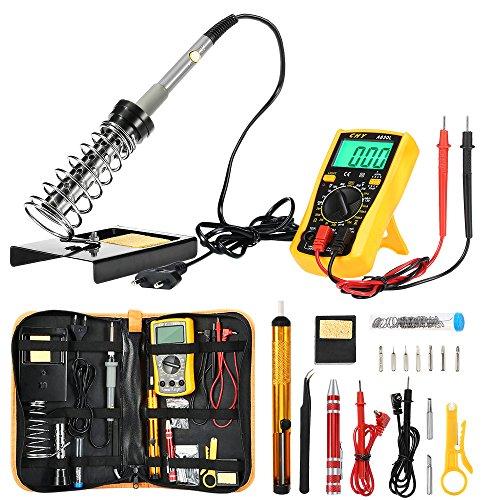 ZEEPIN Soldador eléctrico Kit profesional de estaño-16 en 1 Soldadura con maletín...