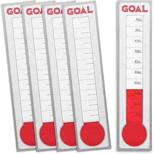 Juvale conjunto de 10 termómetro gráfico de ajuste de la meta - 48 x 11 pulgadas