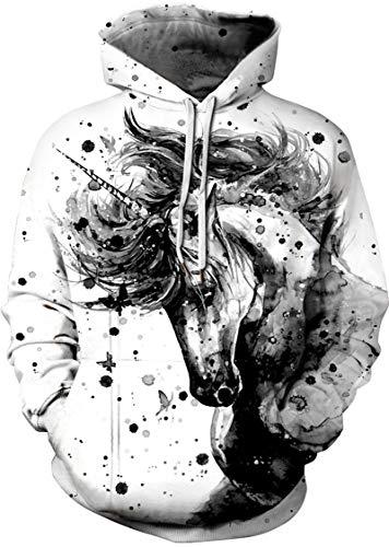 EUDOLAH Sudadera Casual de Primavera para Mujer con Capucha y Motivo 3D y Bolsillo Canguro(2 Caballo Gris,L-XL)