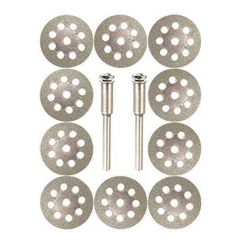 Hoja de Sierra, 10pcs 22mm de Sierra de Diamante Recubierto de la lámina 9 Hoyos Discos de Corte con 2pcs Herramienta de Corte en Forma for el Mandril Dremel
