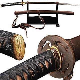 Japanese Samurai Sword Katana Clay Tempered Full Tang Real Sharp Blade Folded 1095 High Carbon Steel Rosewood Saya Can Cut...