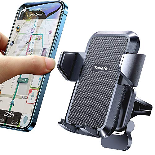 【Super Easy One Click】Car Phone Mount【1s Release】Phone Car Holder for Air Vent Reliable iPhone Car Mount Never Obstruct Driving View fit with iPhone 12/12 Pro Max/11/11 Pro Max/XS/8/Samsung and More