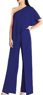 UUYUK Women One-Shoulder Wide Leg Pants Sexy Solid Color Casual Jumpsuit Romper