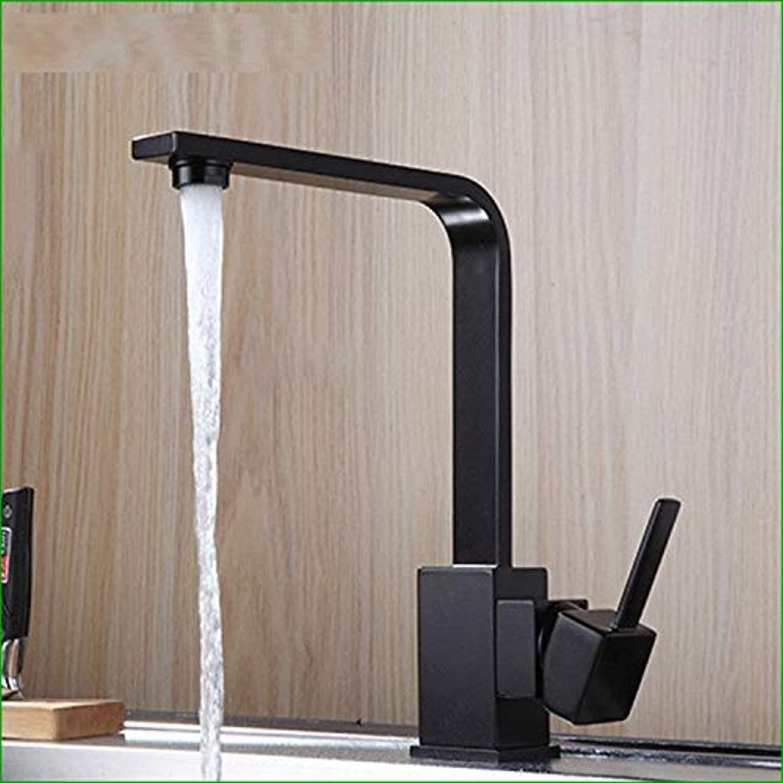 T-TSLT Kupfer Quarz Stein schwarz Küche drehbar sinkt steinhnlichen heien und kalten Waschbecken Wasserhahn