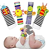 TSICY Cute Animal Soft Baby Toys,Wrist Rattles and Foot Finders Socks set,infant toys Hand Arm Rattle Ring,Feet Ankle Wear for Newborn Baby Boys Girls toys, rattles baby toys 0-3 3-6 months 4pcs