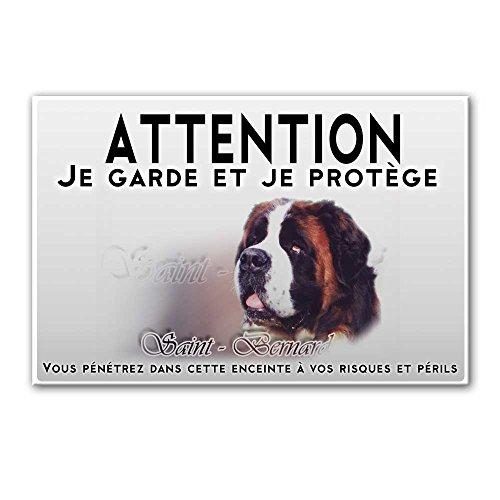 Pets-easy Plaque Attention au Chien Chien Saint Bernard