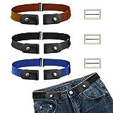 CODIRATO 3 Pezzi Cintura senza Fibbia Cintura Elastica Cintura Invisibile Regolabile per Uomo Donna Pantaloni dei Jeans (Marrone Chiaro, Blu, Nero)