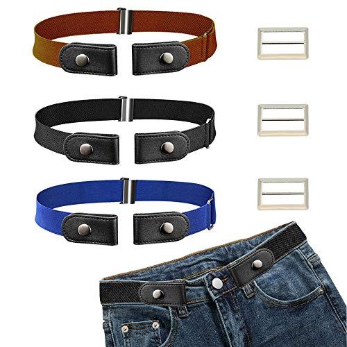 CODIRATO 3 PCS Cinturón Elástico sin Hebilla Ajustable Cinturón Invisible 55-95cm Cinturón Unisex sin Hebilla para Pantalones Vaqueros (3 Colores)