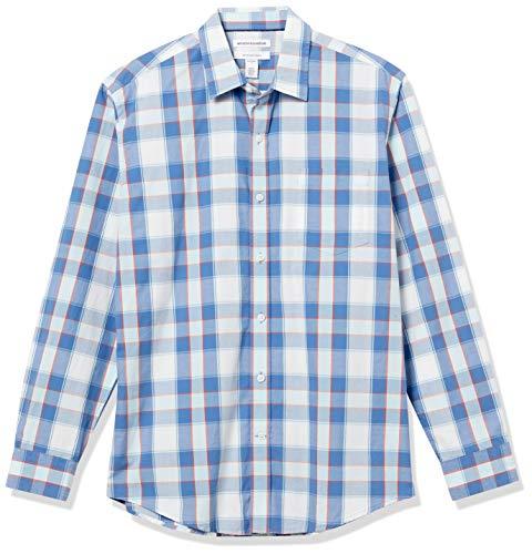 Amazon Essentials Long-Sleeve Regular-fit Casual Poplin Shirt Chemise, Bleu/Orange à Carreaux, S